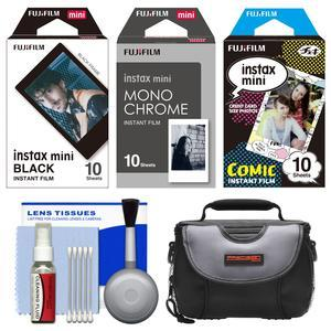 Essentials Bundle for Fujifilm Instax Mini 8 Mini 70 and Mini 90 Instant Film Camera with 30 Black-Monochrome-Comic Prints and Case and Cleaning Kit