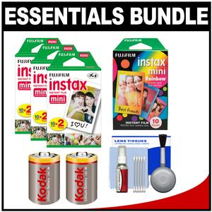 Essentials Bundle for Fujifilm Instax SHARE SP-1 Instant Film Smartphone Printer-White-with 60 Twin Color and 10 Rainbow Prints and-2-Batteries Kit