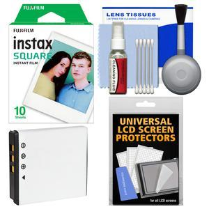 Essentials Bundle for Fujifilm Instax SQ10 Instant Film and Digital Camera with 10 Square Prints + Battery + Cleaning Kit