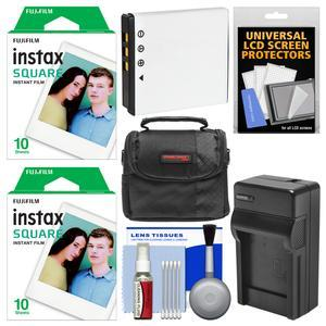 Essentials Bundle for Fujifilm Instax SQ10 Instant Film and Digital Camera with 20 Square Prints + Battery and Charger + Cleaning Kit