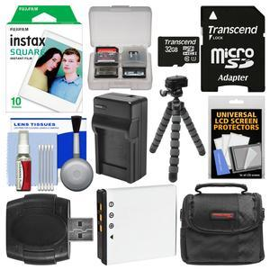 Essentials Bundle for Fujifilm Instax SQ10 Instant Film and Digital Camera with 10 Square Prints + 32GB Card + Battery and Charger + Case + Tripod + Cleaning Kit