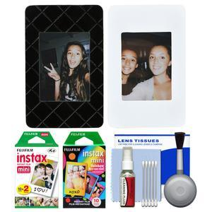 Fujifilm Instax Mini Picture Frames - Black and White 2-Pack - with 20 Twin and 10 Rainbow Prints + Cleaning Kit