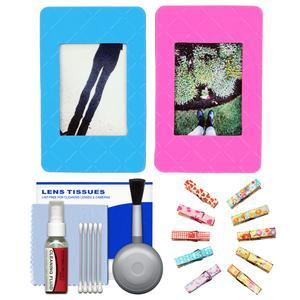 Fujifilm Instax Mini Picture Frames - Pink and Blue 2-Pack - with Wood Peg Clips + Cleaning Kit