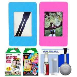 Fujifilm Instax Mini Picture Frames - Pink and Blue 2-Pack - with 20 Twin and 10 Rainbow Prints + Cleaning Kit