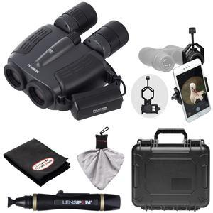 Fujifilm Fujinon Techno-Stabi JR TS1232 12x32 Image Stabilized Binoculars and Case with Waterproof Hard Case and Smartphone Adapter and LensPen Cleaning Kit