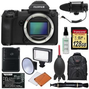 Fujifilm GFX 50S Medium Format Digital Camera Body with 128GB Card + Battery and Charger + LED Light and Flash + Microphone + Backpack + Kit