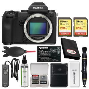 Fujifilm GFX 50S Medium Format Digital Camera Body with - 2 - 128GB Cards + Battery and Charger + Remote + Kit