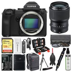 Fujifilm GFX 50S Medium Format Digital Camera Body with 110mm f-2.0 Lens + 128GB Card + Backpack + Battery and Charger + Tripod + Filters + Kit