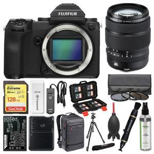 Fujifilm GFX 50S Medium Format Digital Camera Body with 32-64mm f-4.0 Lens + 128GB Card + Backpack + Battery and Charger + Tripod + Filters Kit