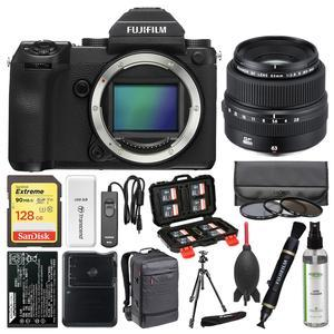 Fujifilm GFX 50S Medium Format Digital Camera Body with 63mm f-2.8 Lens + 128GB Card + Backpack + Battery and Charger + Tripod + Filters + Kit