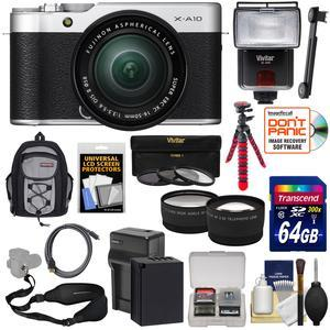 Fujifilm X-A10 Wi-Fi Digital Camera and 16-50mm II XC Lens with 64GB Card + Battery-Charger + Backpack + Tripod + Flash + Strap + Tele-Wide Lens Kit