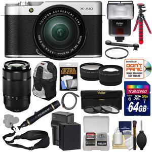 Fujifilm X-A10 Wi-Fi Digital Camera and 16-50mm II XC Lens with 50-230mm Lens + 64GB + Battery + Backpack + Tripod + Flash + Tele-Wide Lens Kit