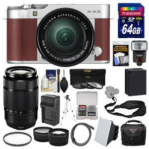 Fujifilm X-A3 Wi-Fi Digital Camera and 16-50mm II XC Lens - Brown - with 50-230mm II Len + 64GB Card + Case + Flash + Battery and Charger + Tele-Wide Lens Kit
