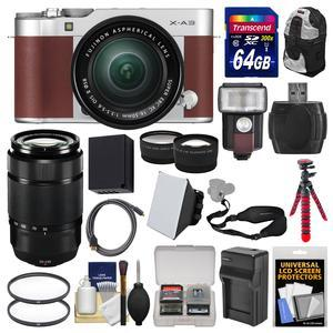 Fujifilm X-A3 Wi-Fi Digital Camera and 16-50mm II XC Lens - Brown - with 50-230mm II Len + 64GB Card + Backpack + Flash + Battery and Charger + 2 Lens Kit