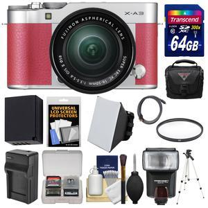 Fujifilm X-A3 Wi-Fi Digital Camera and 16-50mm II XC Lens - Pink - with 64GB Card + Battery and Charger + Case + Tripod + Flash + Filter + Kit