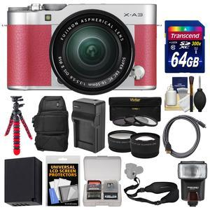 Fujifilm X-A3 Wi-Fi Digital Camera and 16-50mm II XC Lens - Pink - with 64GB Card + Battery and Charger + Backpack + Tripod + Flash + Tele-Wide Lens Kit