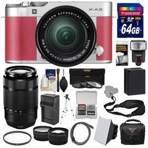 Fujifilm X-A3 Wi-Fi Digital Camera and 16-50mm II XC Lens - Pink - with 50-230mm II Len + 64GB Card + Battery and Charger + Case + Flash + Tele-Wide Lens Kit