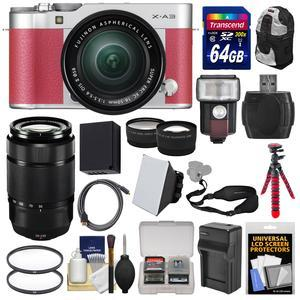Fujifilm X-A3 Wi-Fi Digital Camera and 16-50mm II XC Lens - Pink - with 50-230mm Lens + 64GB Card + Battery + Backpack + Flash + Tripod + Tele-Wide Lens Kit