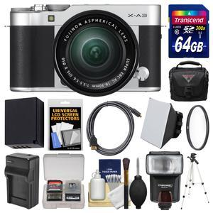 Fujifilm X-A3 Wi-Fi Digital Camera and 16-50mm II XC Lens - Silver - with 64GB Card + Case + Flash + Battery and Charger + Tripod + Filter + Kit