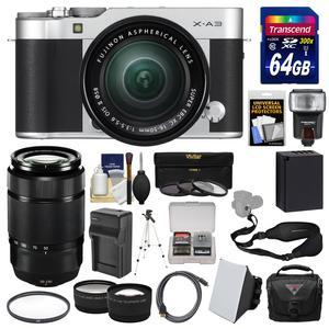 Fujifilm X-A3 Wi-Fi Digital Camera and 16-50mm II XC Lens - Silver - with 50-230mm II Len + 64GB Card + Case + Flash + Battery and Charger + Tele-Wide Lens Kit
