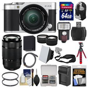 Fujifilm X-A3 Wi-Fi Digital Camera and 16-50mm II XC Lens - Silver - with 50-230mm II Len + 64GB Card + Backpack + Flash + Battery and Charger + 2 Lens Kit