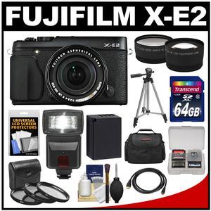 Fujifilm X-E2 Digital Camera & 18-55mm XF Lens (Black) with 64GB Card + Battery + Case + Tripod + Flash + Tele/Wide Lens + Kit