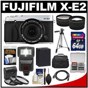 Fujifilm X-E2 Digital Camera & 18-55mm XF Lens (Silver) with 64GB Card + Battery + Case + Tripod + Flash + Tele/Wide Lens + Kit