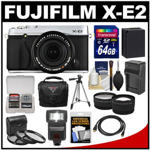 Fujifilm X-E2 Digital Camera & 18-55mm XF Lens (Silver) with 64GB Card + Case + Flash + Battery + Tripod + Tele/Wide Lens Kit