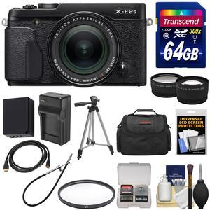 Fujifilm X-E2S Wi-Fi Digital Camera and 18-55mm XF Lens - Black - with 64GB Card + Battery and Charger + Tripod + Case + Tele-Wide Lens Kit
