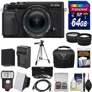 Fujifilm X-E2S Wi-Fi Digital Camera and 18-55mm XF Lens - Black - with 64GB Card + Battery and Charger + Tripod + Case + Flash + Tele-Wide Lens Kit