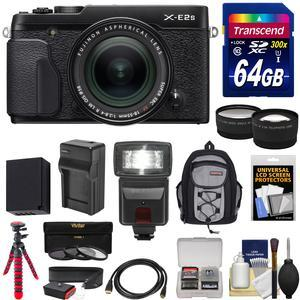 Fujifilm X-E2S Wi-Fi Digital Camera and 18-55mm XF Lens - Black - with 64GB Card + Battery and Charger + Tripod + Backpack + Flash + Tele-Wide Lens Kit