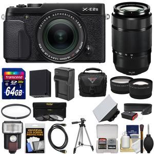 Fujifilm X-E2S Wi-Fi Digital Camera and 18-55mm XF Lens - Black - with 50-230mm XC II Lens + 64GB Card + Battery and Charger + Flash + Case + Tripod + Kit