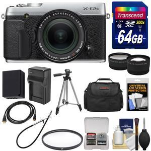 Fujifilm X-E2S Wi-Fi Digital Camera and 18-55mm XF Lens - Silver - with 64GB Card + Battery and Charger + Tripod + Case + Tele-Wide Lens Kit