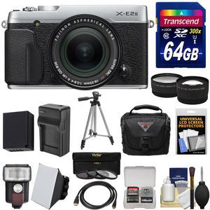 Fujifilm X-E2S Wi-Fi Digital Camera and 18-55mm XF Lens - Silver - with 64GB Card + Battery and Charger + Tripod + Case + Flash + Tele-Wide Lens Kit