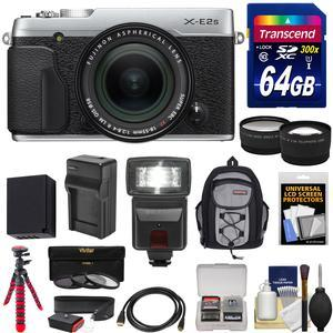 Fujifilm X-E2S Wi-Fi Digital Camera and 18-55mm XF Lens - Silver - with 64GB Card + Battery and Charger + Tripod + Backpack + Flash + Tele-Wide Lens Kit