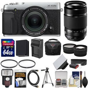 Fujifilm X-E2S Wi-Fi Digital Camera and 18-55mm XF Lens-Silver-with 55-200mm XC Lens and 64GB Card and Battery and Charger and Flash and Case and Tripod and Kit