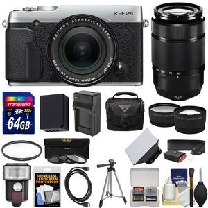 Fujifilm X-E2S Wi-Fi Digital Camera and 18-55mm XF Lens - Silver - with 50-230mm XC II Lens + 64GB Card + Battery and Charger + Flash + Case + Tripod + Kit