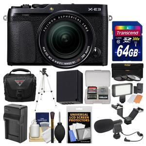 Fujifilm X-E3 4K Digital Camera and 18-55mm XF Lens - Black - with 64GB Card + Case + Video Light + Mic + Battery and Charger + Tripod + Filters Kit