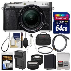 Fujifilm X-E3 4K Digital Camera and 18-55mm XF Lens - Silver - with 64GB Card + Case + Battery and Charger + Tripod + UV Filter + Tele-Wide Len Kit
