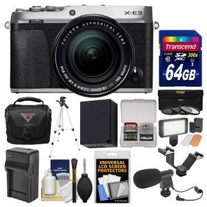 Fujifilm X-E3 4K Digital Camera and 18-55mm XF Lens - Silver - with 64GB Card + Case + Video Light + Mic + Battery and Charger + Tripod + Filters Kit