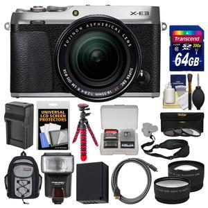 Fujifilm X-E3 4K Digital Camera and 18-55mm XF Lens - Silver - with 64GB Card + Backpack + Flash + Battery and Charger + Flex Tripod + Filters + Kit