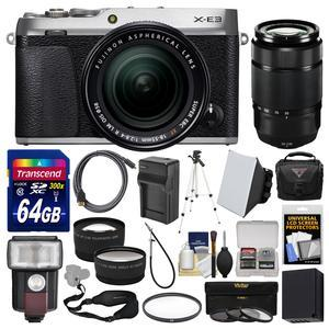 Fujifilm X-E3 4K Digital Camera and 18-55mm XF Lens - Silver - with 50-230mm Lens + 64GB Card + Case + Flash + Battery and Charger + Tripod + 2 Lens Kit