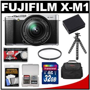 Fujifilm X-M1 Digital Camera 16-50mm XC Lens (Silverwith 32GB Card Battery Case Filter Flex Tripod Kit