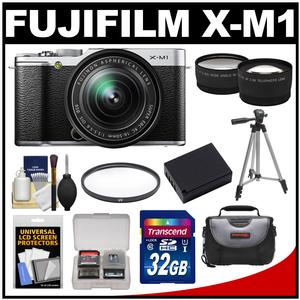 Fujifilm X-M1 Digital Camera 16-50mm XC Lens (Silverwith 32GB Card Battery Case Filter Tripod Tele/Wide Lens Kit