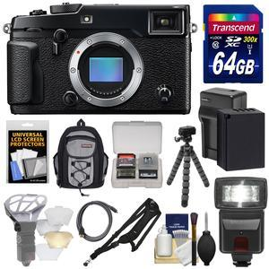 Fujifilm X-Pro2 Wi-Fi Digital Camera Body with 64GB Card + Battery + Charger + Flash + Sling Backpack + Tripod + Strap + Kit