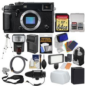 Fujifilm X-Pro2 Wi-Fi Digital Camera Body with 64GB Card + Backpack + Flash + LED Light + Mic + Battery and Charger + Tripod + Kit