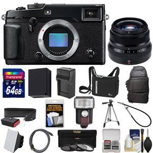 Fujifilm X-Pro2 Wi-Fi Digital Camera Body with 35mm f-2 WR Lens + 64GB Card + Battery + Tripod + 2 Cases + Kit