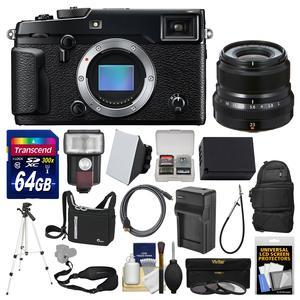 Fujifilm X-Pro2 Wi-Fi Digital Camera Body with 23mm f-2.0 XF Lens + 64GB Card + Case + Flash + Battery and Charger + Tripod + Kit