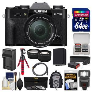 Fujifilm X-T10 Digital Camera & 16-50mm II XC Lens (Black) with 64GB Card + Backpack + Flash + Battery & Charger + Tripod + Tele\/Wide Lens Kit