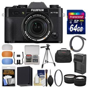 Fujifilm X-T10 Digital Camera & 18-55mm XF Lens (Black) with 64GB Card + Case + Battery & Charger + Tripod + Tele\/Wide Lens Kit